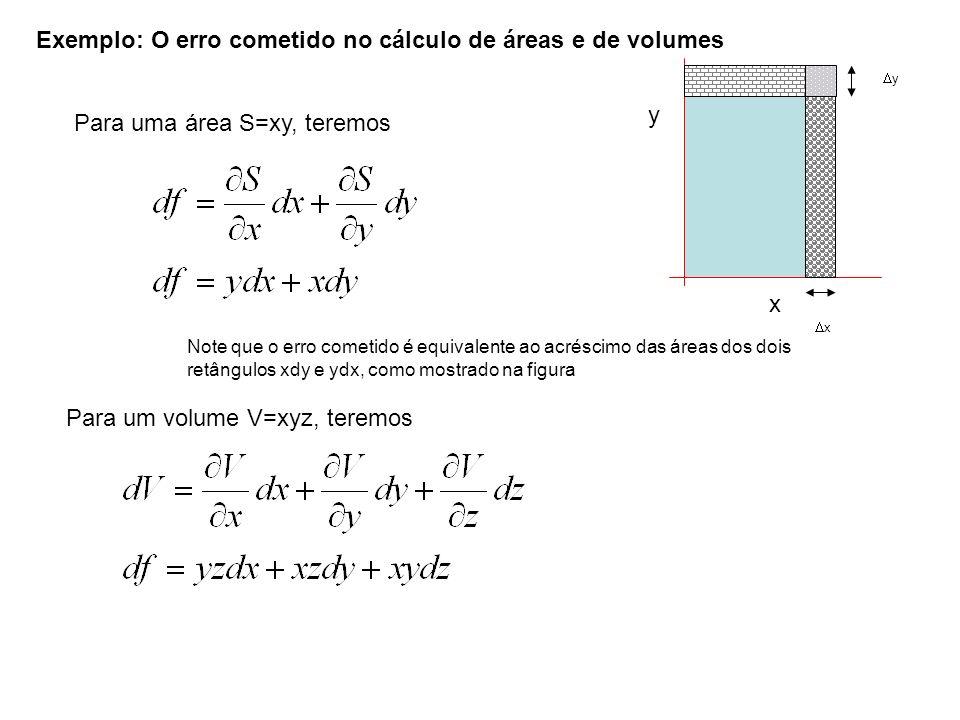 Para uma área S=xy, teremos Exemplo: O erro cometido no cálculo de áreas e de volumes Para um volume V=xyz, teremos y x y x Note que o erro cometido é