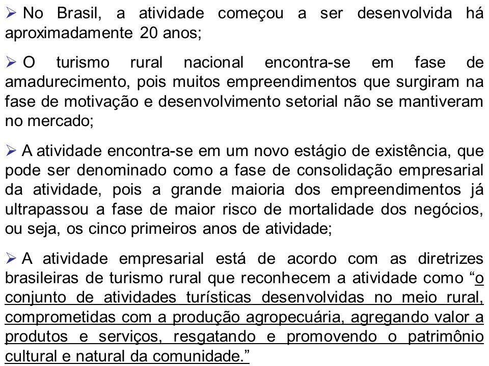 No Brasil, a atividade começou a ser desenvolvida há aproximadamente 20 anos; O turismo rural nacional encontra-se em fase de amadurecimento, pois mui