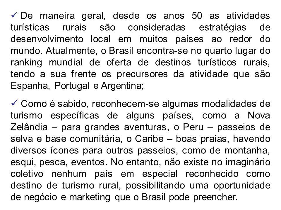 De maneira geral, desde os anos 50 as atividades turísticas rurais são consideradas estratégias de desenvolvimento local em muitos países ao redor do