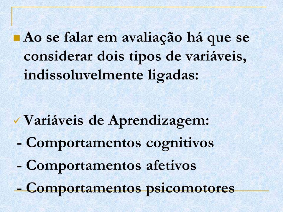 Ao se falar em avaliação há que se considerar dois tipos de variáveis, indissoluvelmente ligadas: Variáveis de Aprendizagem: - Comportamentos cognitiv