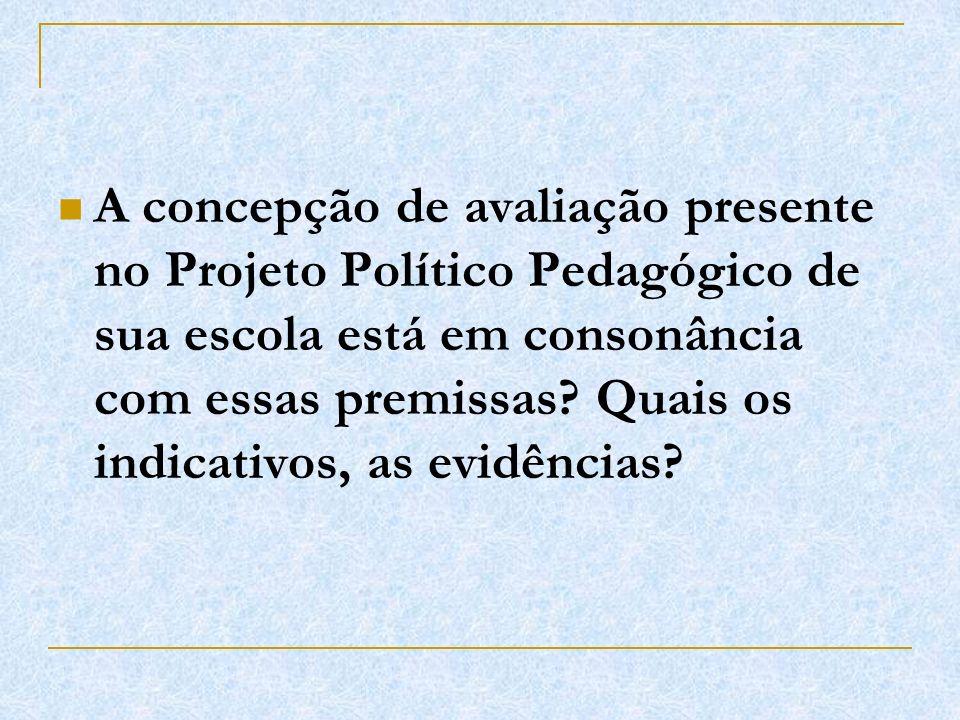 A concepção de avaliação presente no Projeto Político Pedagógico de sua escola está em consonância com essas premissas? Quais os indicativos, as evidê