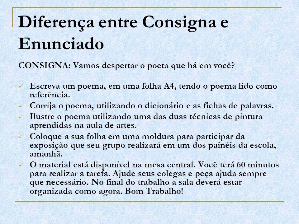 Diferença entre Consigna e Enunciado CONSIGNA: Vamos despertar o poeta que há em você? Escreva um poema, em uma folha A4, tendo o poema lido como refe