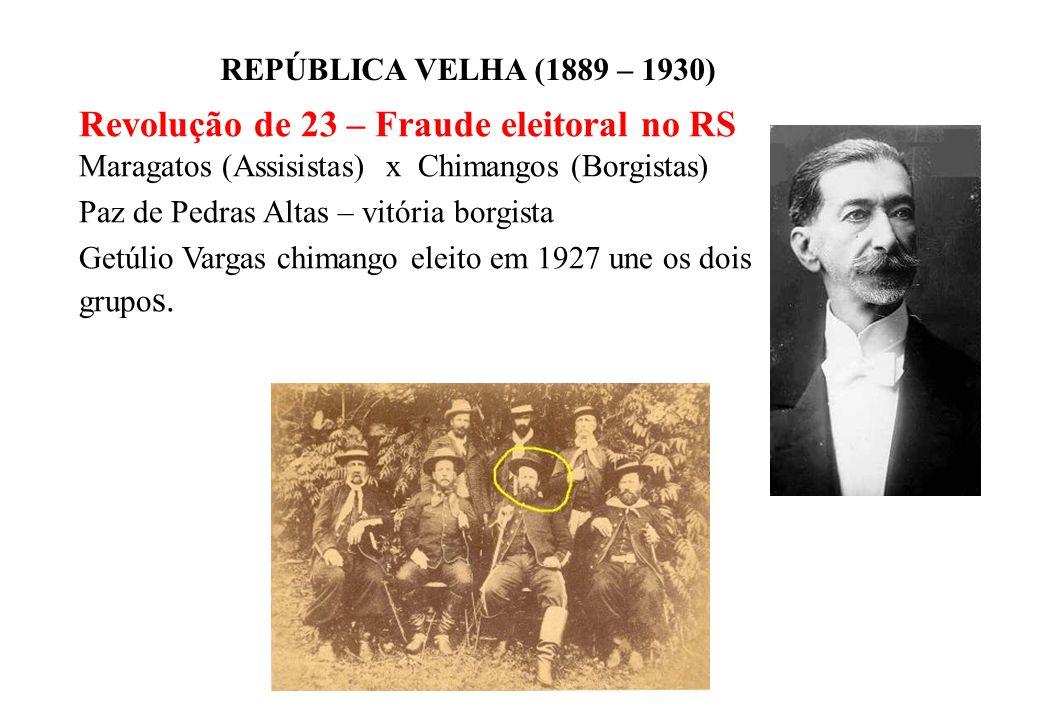 BRASIL REPÚBLICA (1889 – ) REPÚBLICA VELHA (1889 – 1930) Revolução de 23 – Fraude eleitoral no RS Maragatos (Assisistas) x Chimangos (Borgistas) Paz de Pedras Altas – vitória borgista Getúlio Vargas chimango eleito em 1927 une os dois grupo s.
