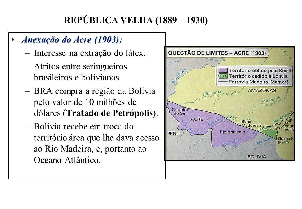 BRASIL REPÚBLICA (1889 – ) REPÚBLICA VELHA (1889 – 1930) Anexação do Acre (1903):Anexação do Acre (1903): –Interesse na extração do látex. –Atritos en