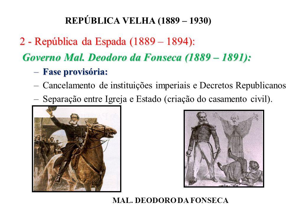 BRASIL REPÚBLICA (1889 – ) REPÚBLICA VELHA (1889 – 1930) 2 - República da Espada (1889 – 1894): Governo Mal.