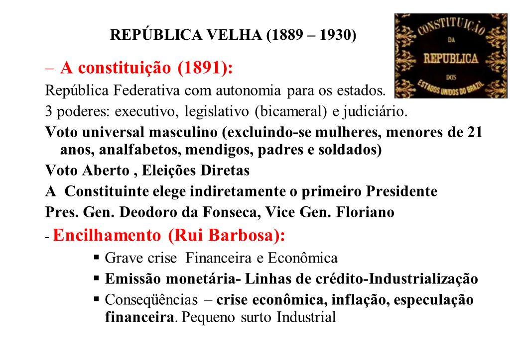 BRASIL REPÚBLICA (1889 – ) REPÚBLICA VELHA (1889 – 1930) –A constituição (1891): República Federativa com autonomia para os estados. 3 poderes: execut