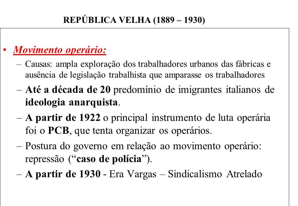 BRASIL REPÚBLICA (1889 – ) REPÚBLICA VELHA (1889 – 1930) Movimento operário: –Causas: ampla exploração dos trabalhadores urbanos das fábricas e ausência de legislação trabalhista que amparasse os trabalhadores –Até a década de 20 predomínio de imigrantes italianos de ideologia anarquista.