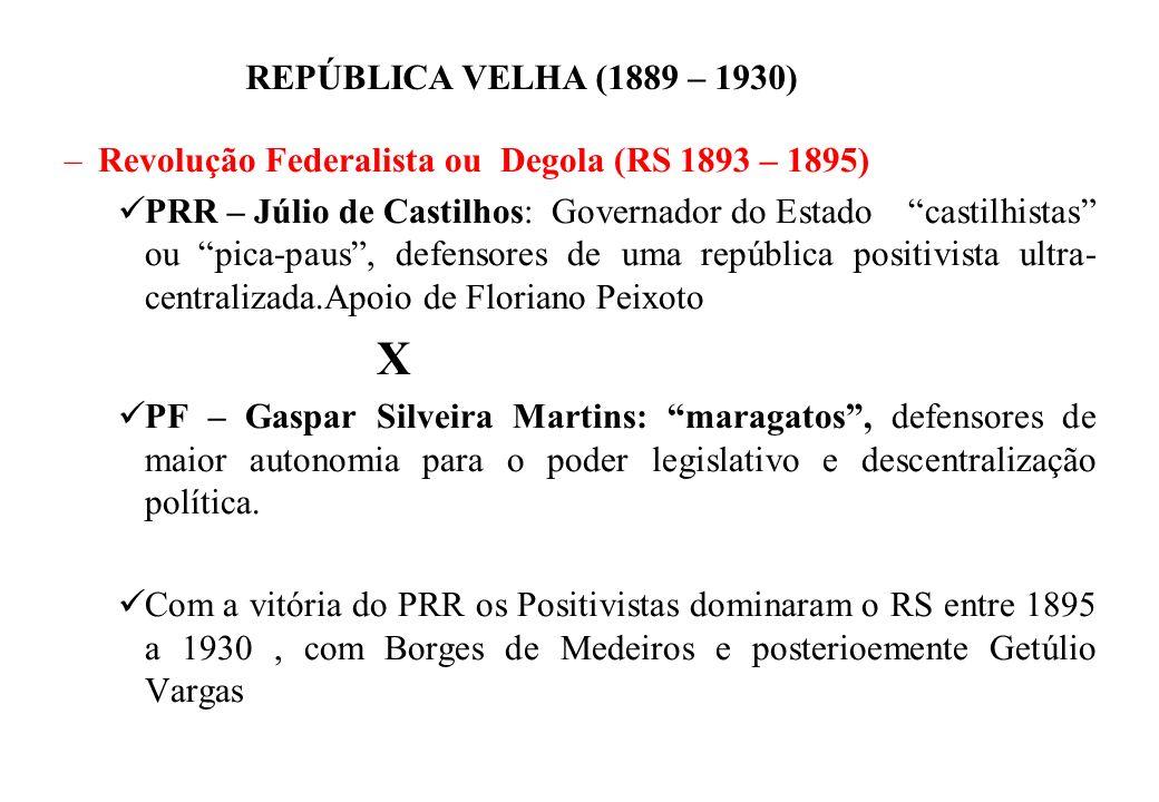 BRASIL REPÚBLICA (1889 – ) REPÚBLICA VELHA (1889 – 1930) –Revolução Federalista ou Degola (RS 1893 – 1895) PRR – Júlio de Castilhos: Governador do Est