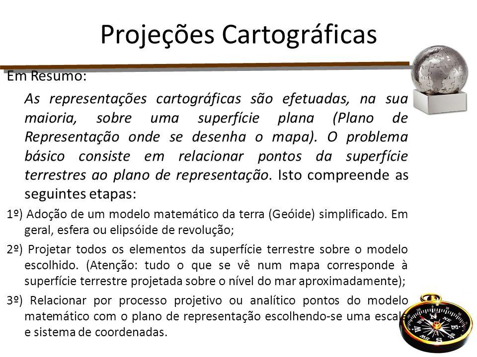 Em Resumo: As representações cartográficas são efetuadas, na sua maioria, sobre uma superfície plana (Plano de Representação onde se desenha o mapa).