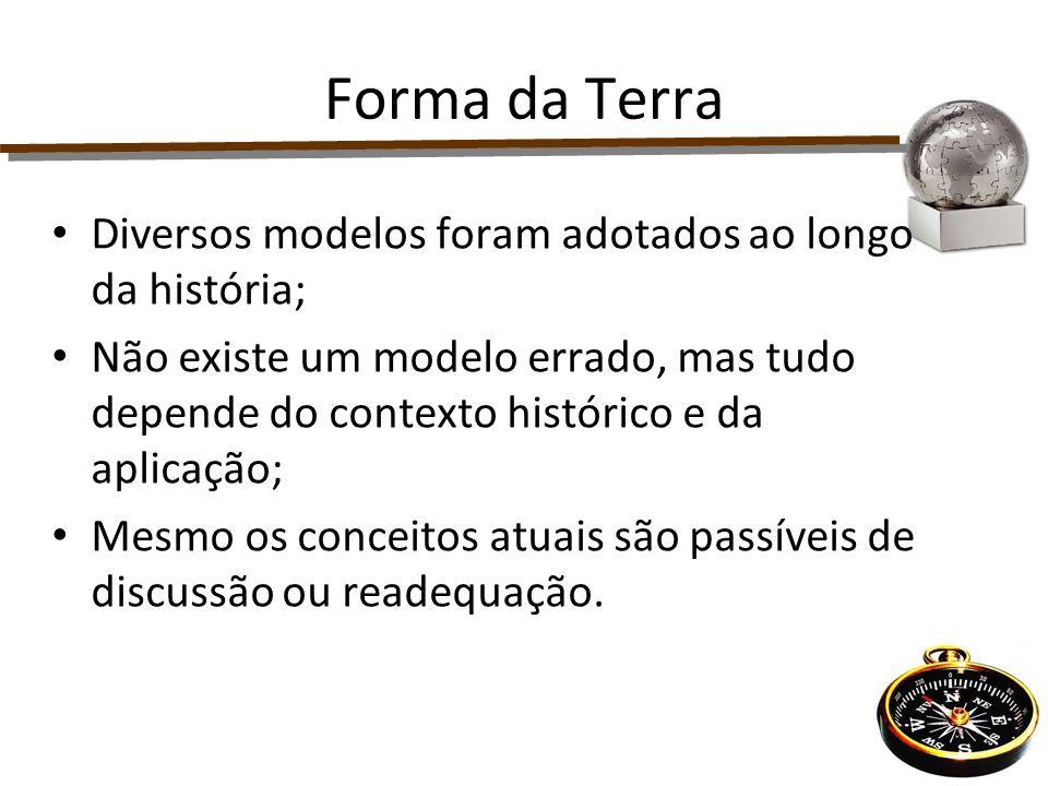 Forma da Terra Diversos modelos foram adotados ao longo da história; Não existe um modelo errado, mas tudo depende do contexto histórico e da aplicaçã