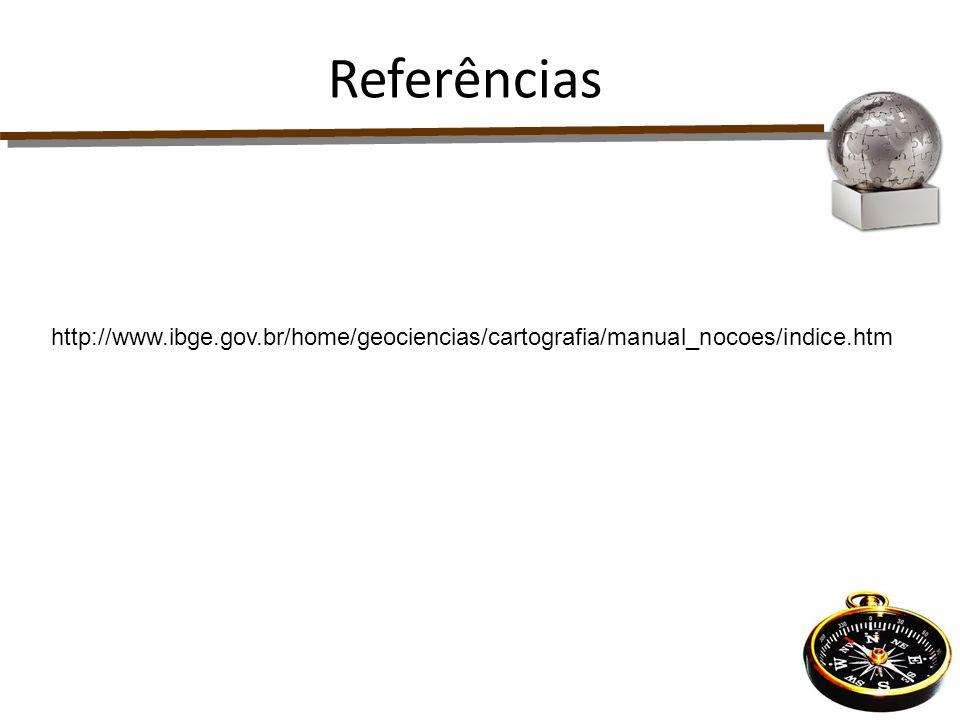 Referências http://www.ibge.gov.br/home/geociencias/cartografia/manual_nocoes/indice.htm