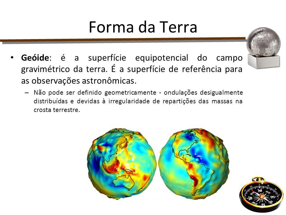 Forma da Terra Geóide: é a superfície equipotencial do campo gravimétrico da terra. É a superfície de referência para as observações astronômicas. – N