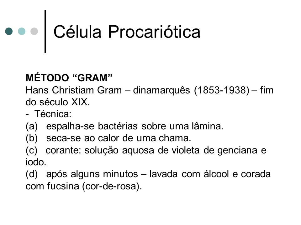 MÉTODO GRAM Hans Christiam Gram – dinamarquês (1853-1938) – fim do século XIX. - Técnica: (a) espalha-se bactérias sobre uma lâmina. (b) seca-se ao ca