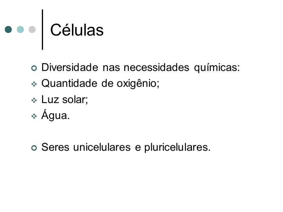 Células Diversidade nas necessidades químicas: Quantidade de oxigênio; Luz solar; Água. Seres unicelulares e pluricelulares.