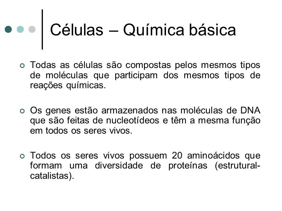 Células – Química básica Todas as células são compostas pelos mesmos tipos de moléculas que participam dos mesmos tipos de reações químicas. Os genes