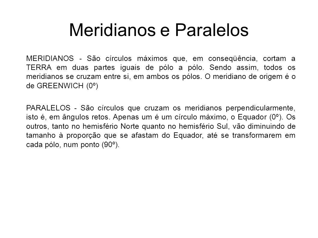 Meridianos e Paralelos MERIDIANOS - São círculos máximos que, em conseqüência, cortam a TERRA em duas partes iguais de pólo a pólo. Sendo assim, todos