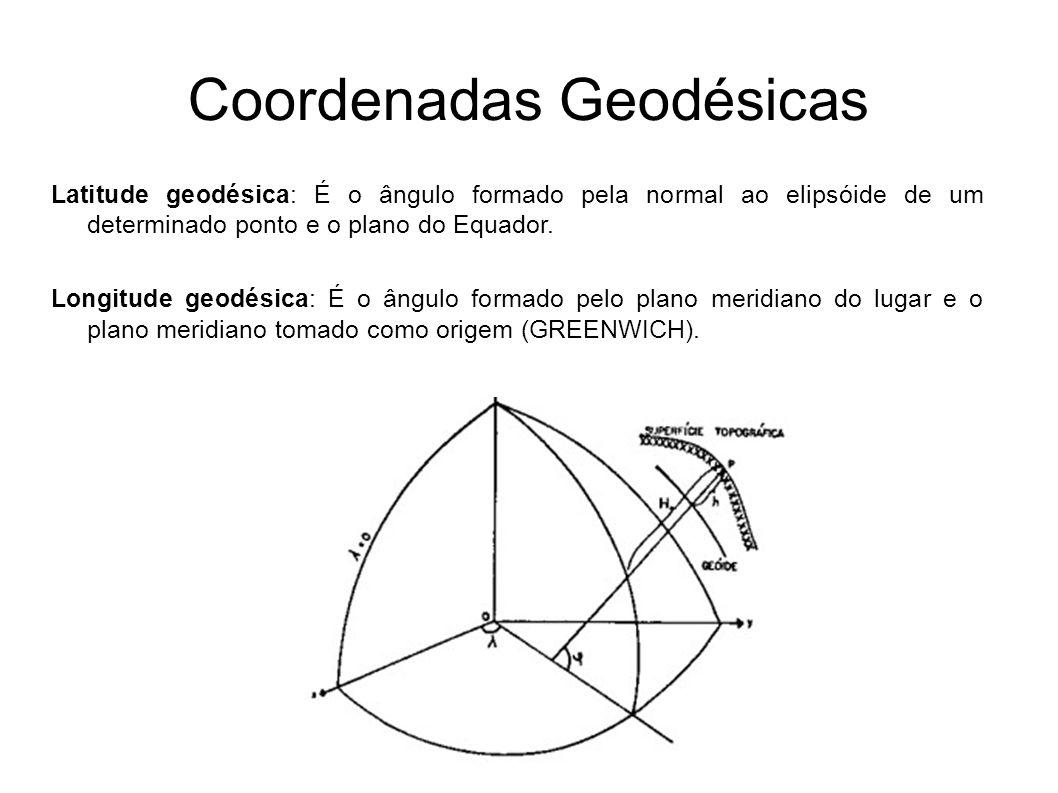 Coordenadas Geodésicas Latitude geodésica: É o ângulo formado pela normal ao elipsóide de um determinado ponto e o plano do Equador. Longitude geodési