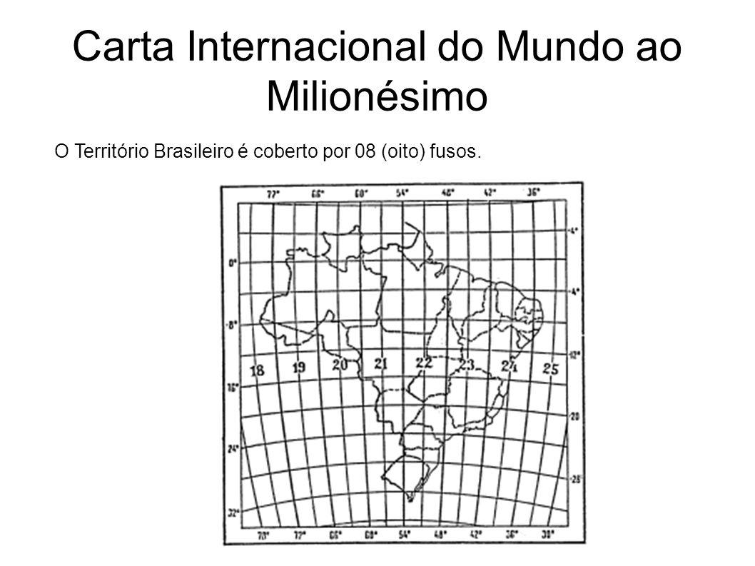 Carta Internacional do Mundo ao Milionésimo O Território Brasileiro é coberto por 08 (oito) fusos.