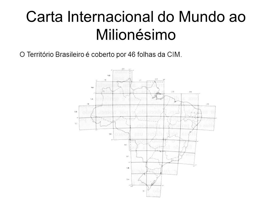 Carta Internacional do Mundo ao Milionésimo O Território Brasileiro é coberto por 46 folhas da CIM.