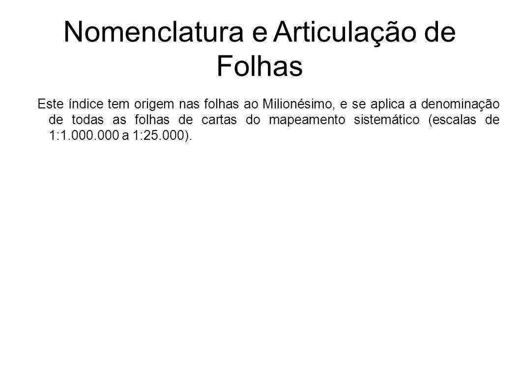 Nomenclatura e Articulação de Folhas Este índice tem origem nas folhas ao Milionésimo, e se aplica a denominação de todas as folhas de cartas do mapea