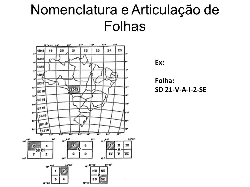 Nomenclatura e Articulação de Folhas Ex: Folha: SD 21-V-A-I-2-SE