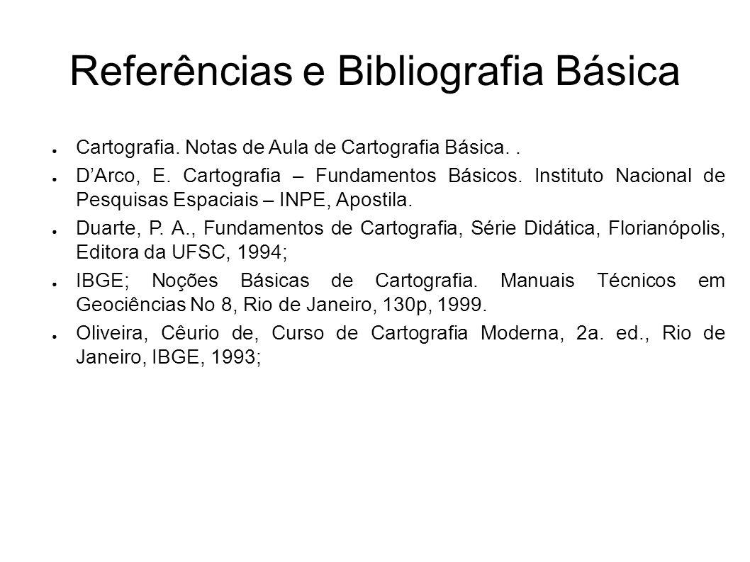 Referências e Bibliografia Básica Cartografia. Notas de Aula de Cartografia Básica.. DArco, E. Cartografia – Fundamentos Básicos. Instituto Nacional d
