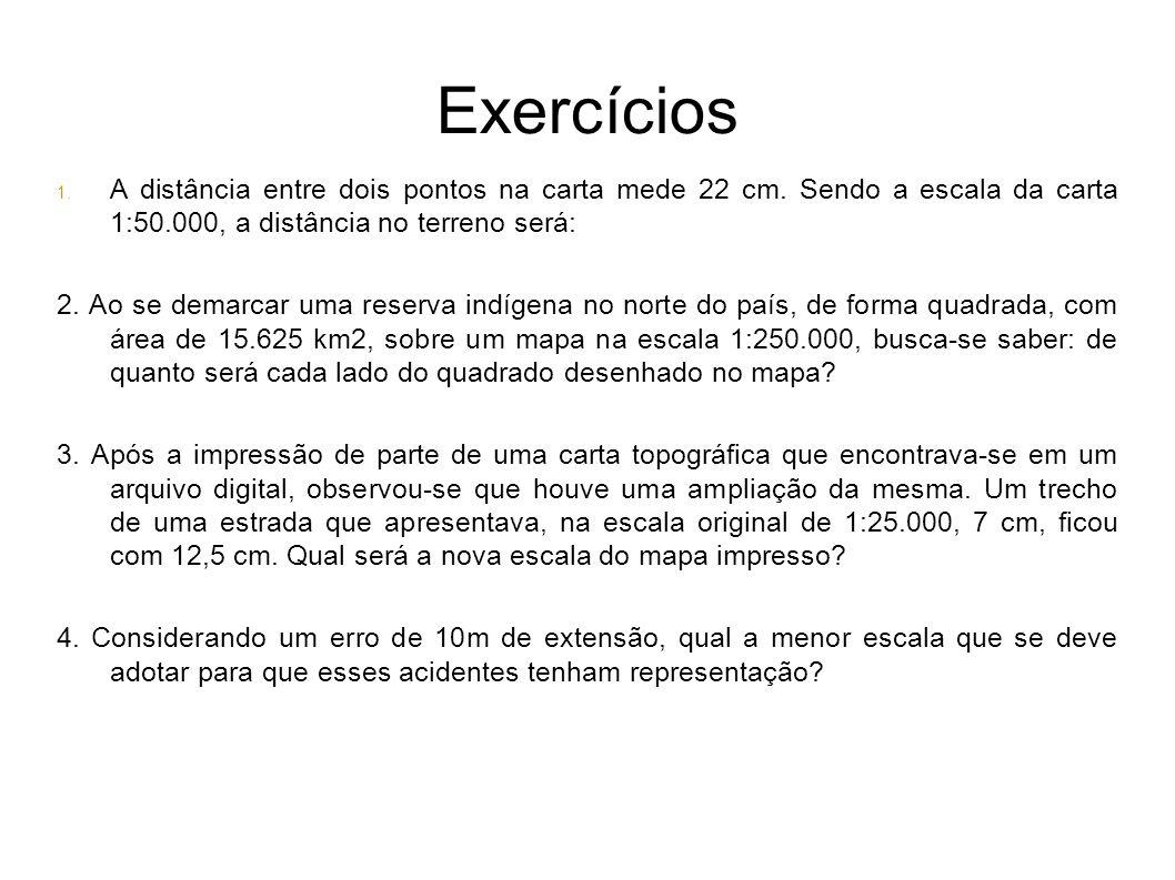 Exercícios 1. A distância entre dois pontos na carta mede 22 cm. Sendo a escala da carta 1:50.000, a distância no terreno será: 2. Ao se demarcar uma