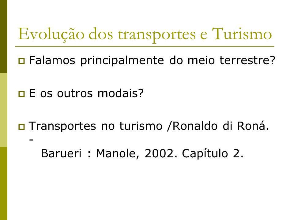 Evolução dos transportes e Turismo Falamos principalmente do meio terrestre? E os outros modais? Transportes no turismo /Ronaldo di Roná. - Barueri :