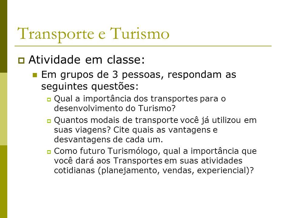 Transporte e Turismo Atividade em classe: Em grupos de 3 pessoas, respondam as seguintes questões: Qual a importância dos transportes para o desenvolv