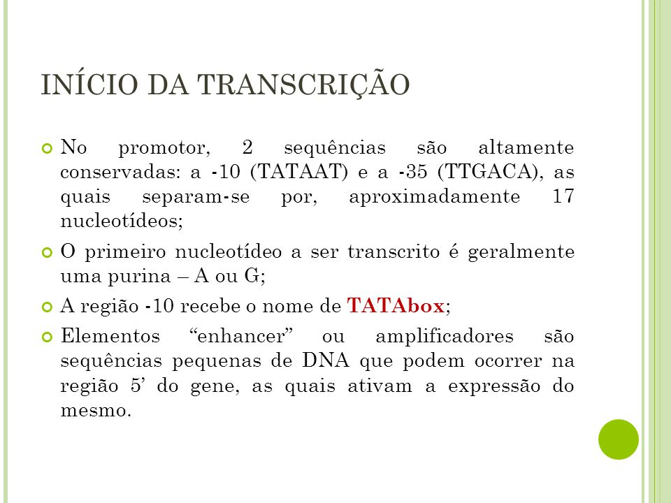 INÍCIO DA TRANSCRIÇÃO No promotor, 2 sequências são altamente conservadas: a -10 (TATAAT) e a -35 (TTGACA), as quais separam-se por, aproximadamente 1