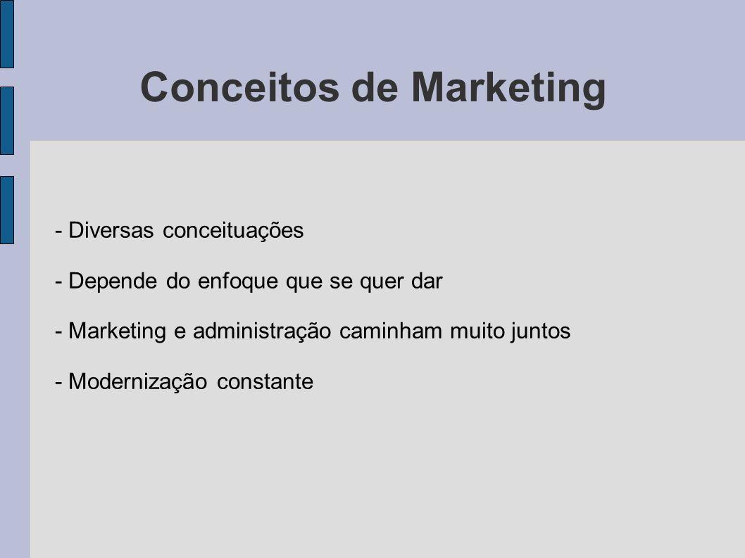 Conceitos de Marketing - Diversas conceituações - Depende do enfoque que se quer dar - Marketing e administração caminham muito juntos - Modernização