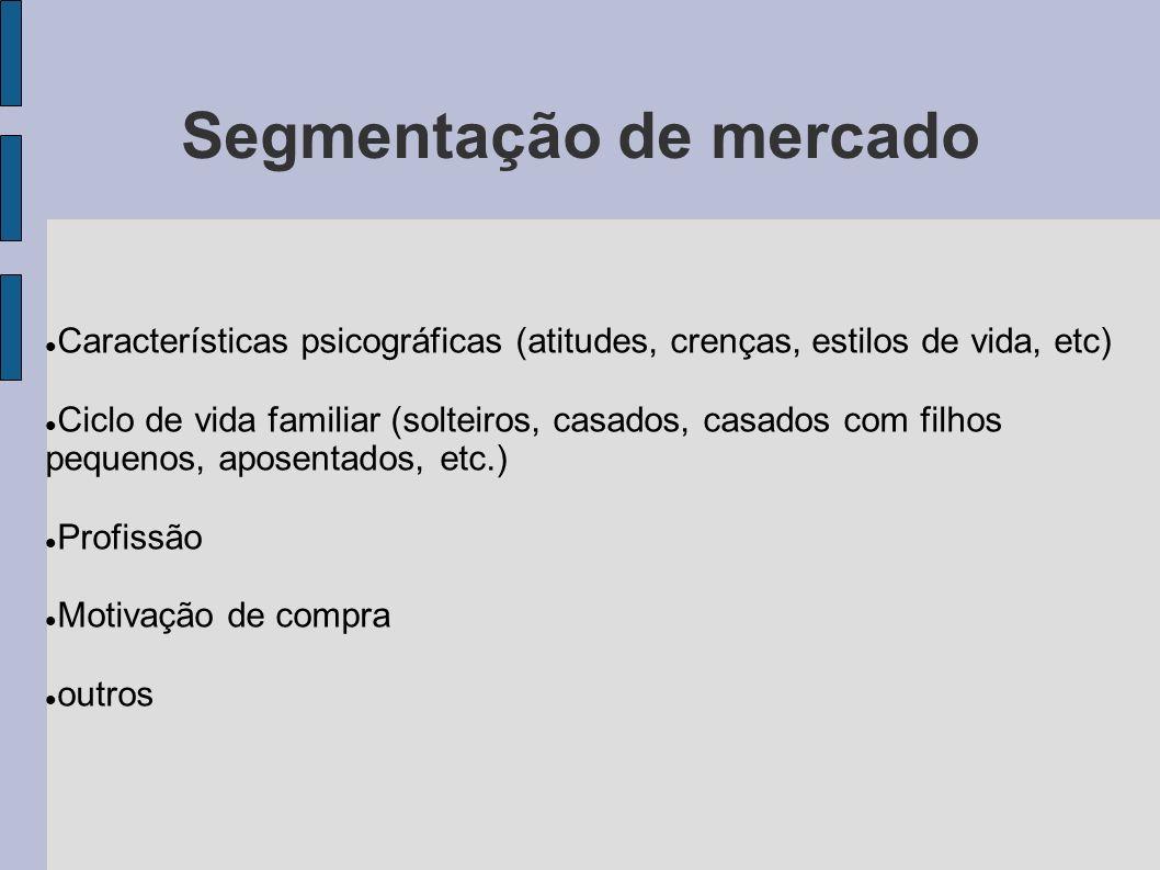 Segmentação de mercado Características psicográficas (atitudes, crenças, estilos de vida, etc) Ciclo de vida familiar (solteiros, casados, casados com