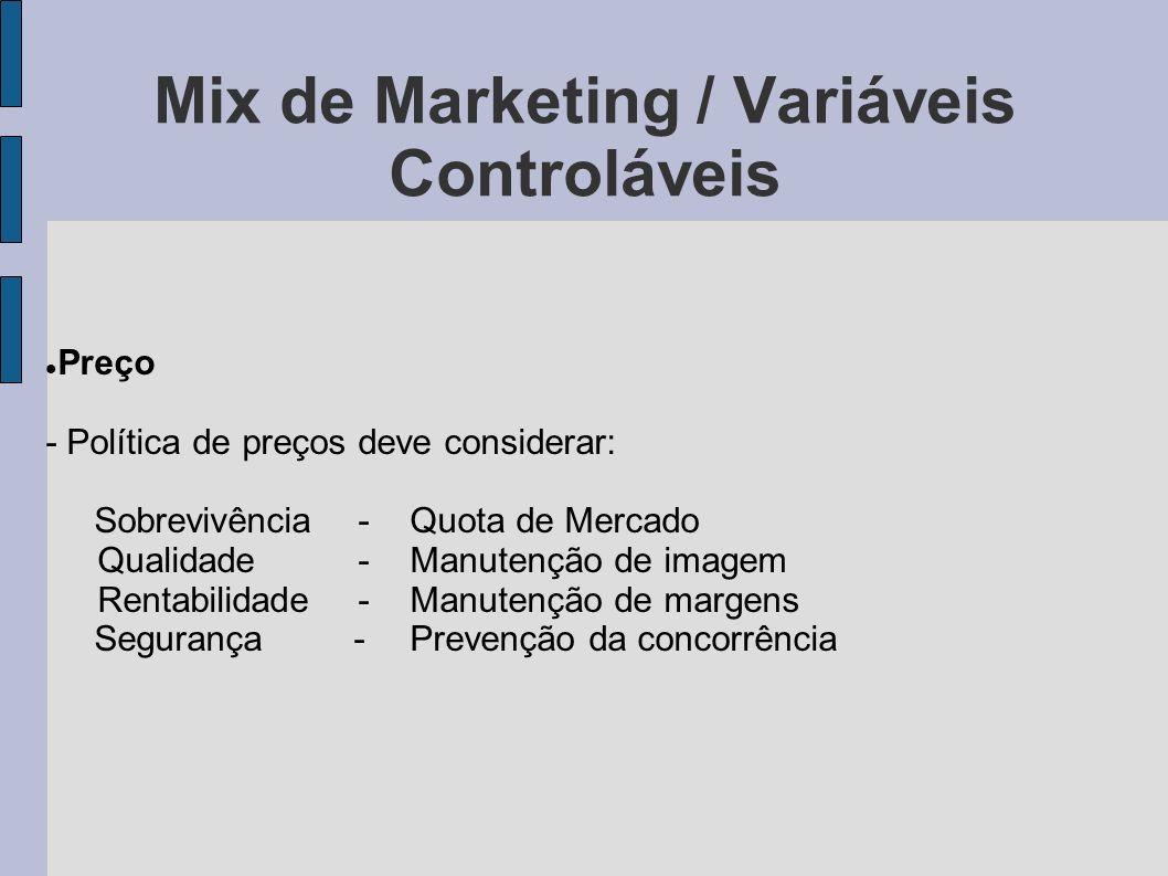 Mix de Marketing / Variáveis Controláveis Preço - Política de preços deve considerar: Sobrevivência -Quota de Mercado Qualidade-Manutenção de imagem R