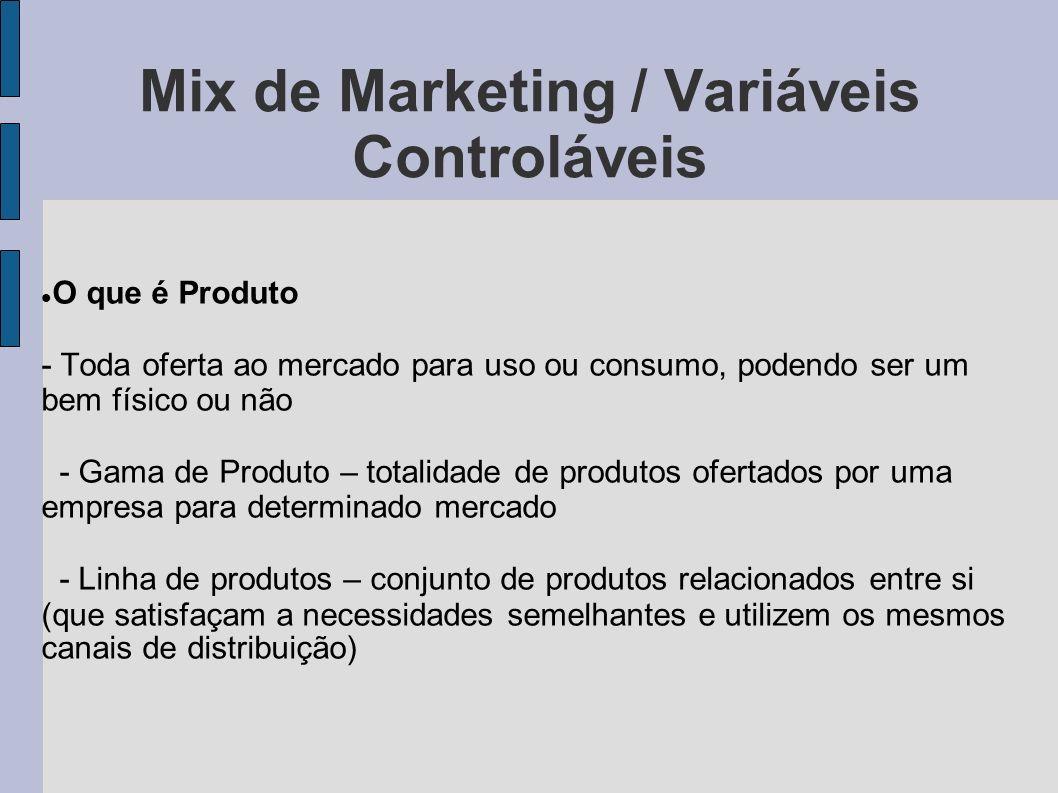 Mix de Marketing / Variáveis Controláveis O que é Produto - Toda oferta ao mercado para uso ou consumo, podendo ser um bem físico ou não - Gama de Pro
