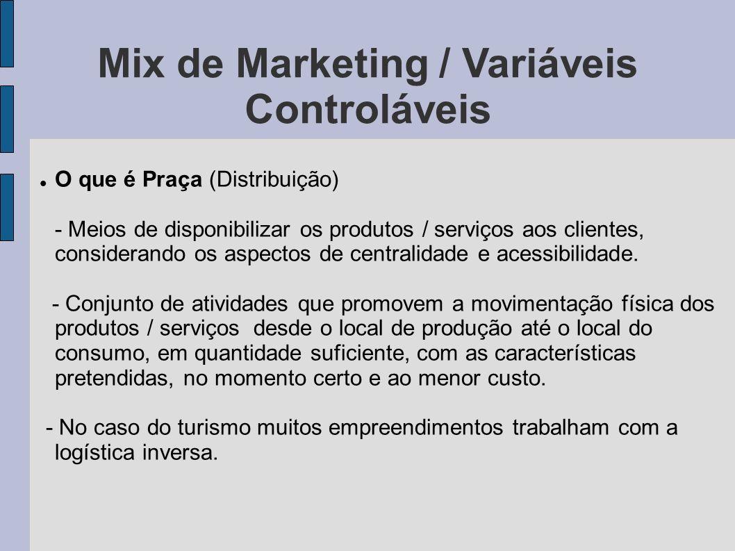 Mix de Marketing / Variáveis Controláveis O que é Praça (Distribuição) - Meios de disponibilizar os produtos / serviços aos clientes, considerando os