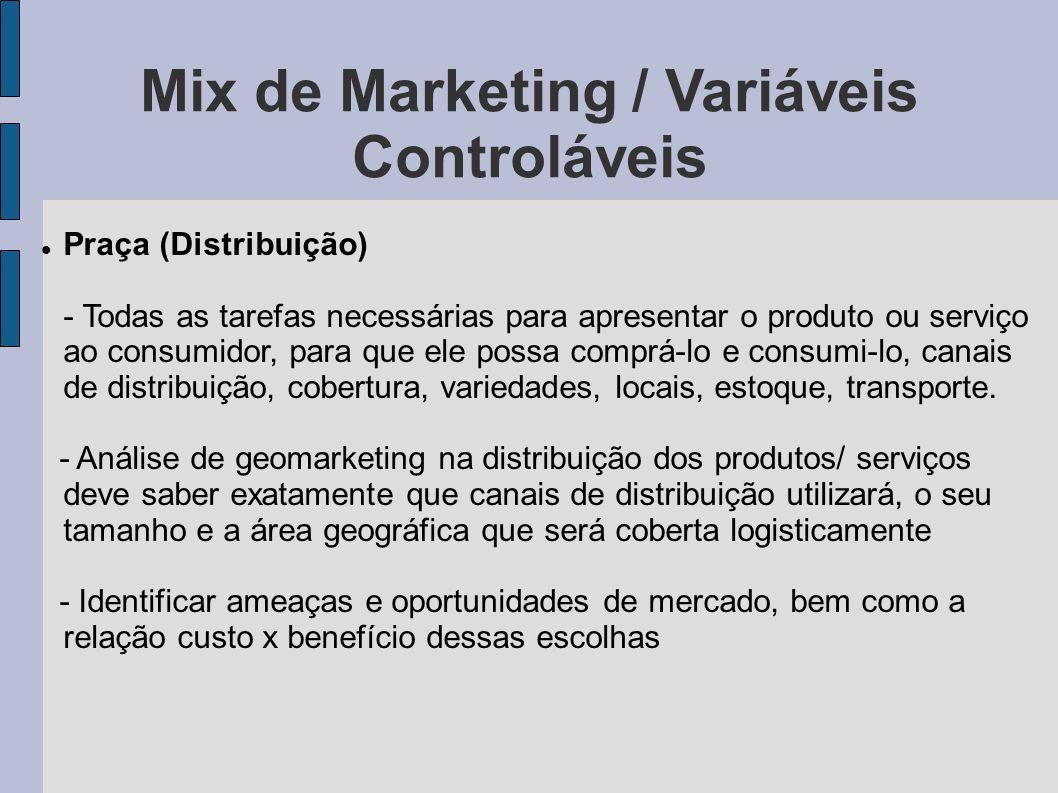 Mix de Marketing / Variáveis Controláveis Praça (Distribuição) - Todas as tarefas necessárias para apresentar o produto ou serviço ao consumidor, para