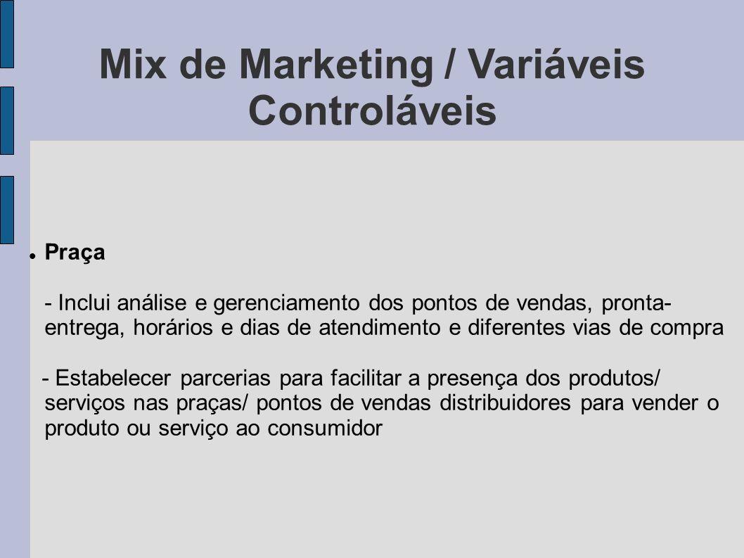 Mix de Marketing / Variáveis Controláveis Praça - Inclui análise e gerenciamento dos pontos de vendas, pronta- entrega, horários e dias de atendimento
