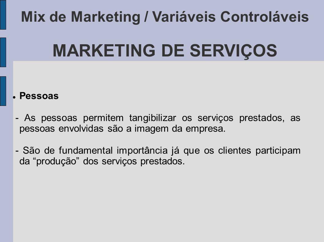Mix de Marketing / Variáveis Controláveis MARKETING DE SERVIÇOS Pessoas - As pessoas permitem tangibilizar os serviços prestados, as pessoas envolvida