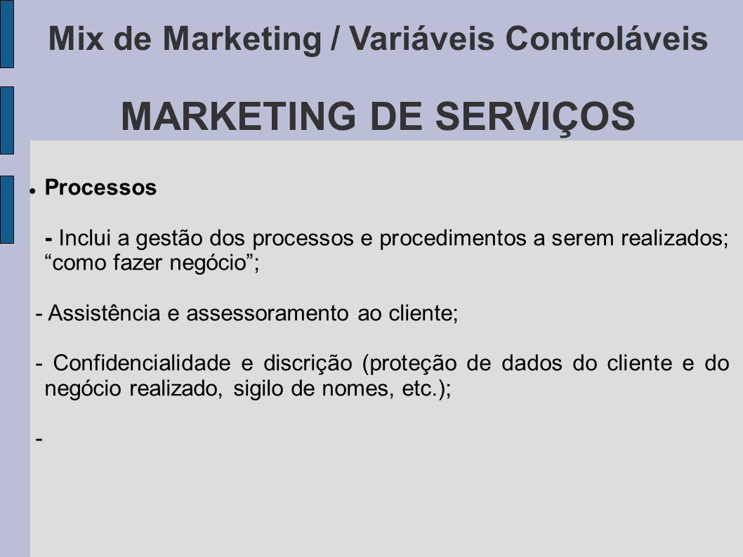 Mix de Marketing / Variáveis Controláveis MARKETING DE SERVIÇOS Processos - Inclui a gestão dos processos e procedimentos a serem realizados; como faz