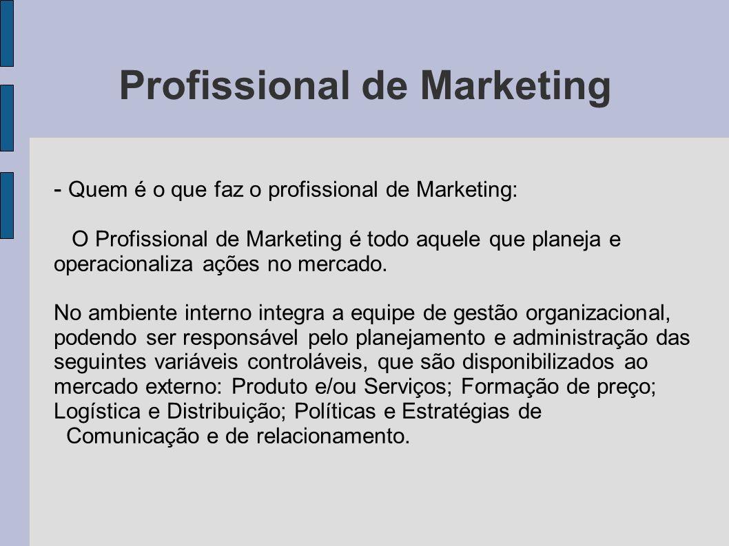 Profissional de Marketing - Quem é o que faz o profissional de Marketing: O Profissional de Marketing é todo aquele que planeja e operacionaliza ações
