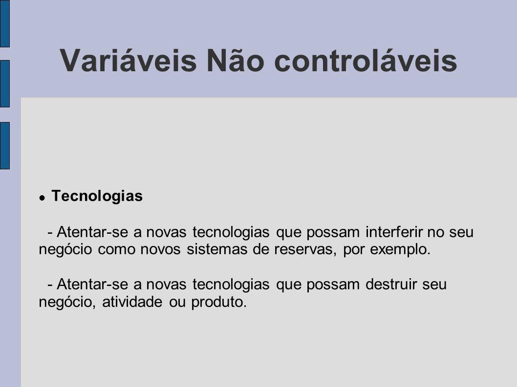 Variáveis Não controláveis Tecnologias - Atentar-se a novas tecnologias que possam interferir no seu negócio como novos sistemas de reservas, por exem