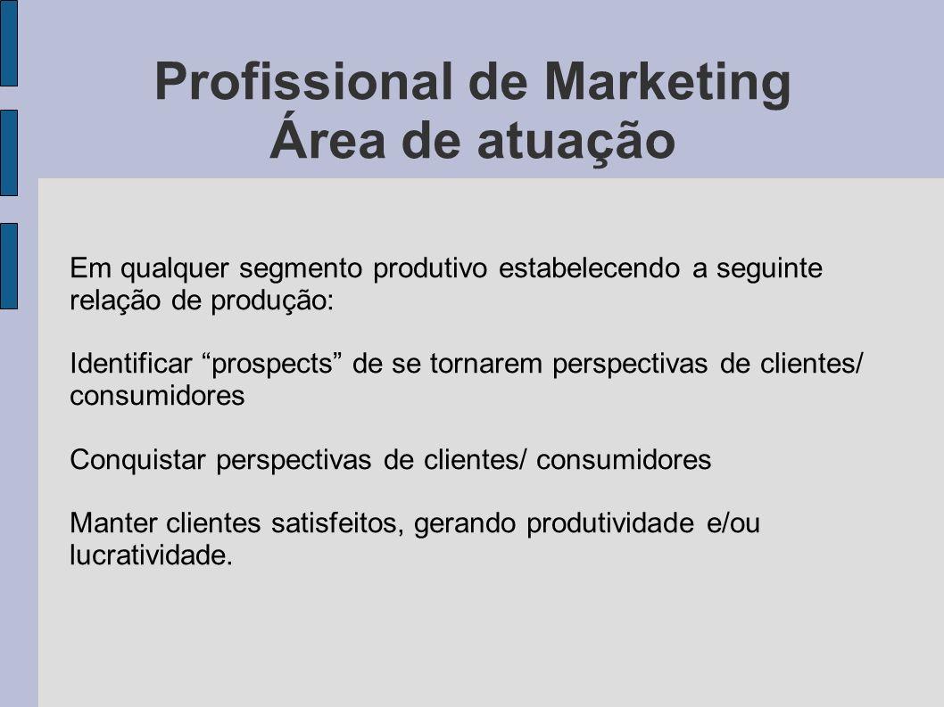 Profissional de Marketing Área de atuação Em qualquer segmento produtivo estabelecendo a seguinte relação de produção: Identificar prospects de se tor