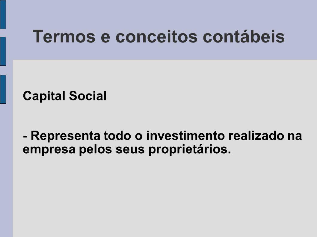 Termos e conceitos contábeis Capital Social - Representa todo o investimento realizado na empresa pelos seus proprietários.