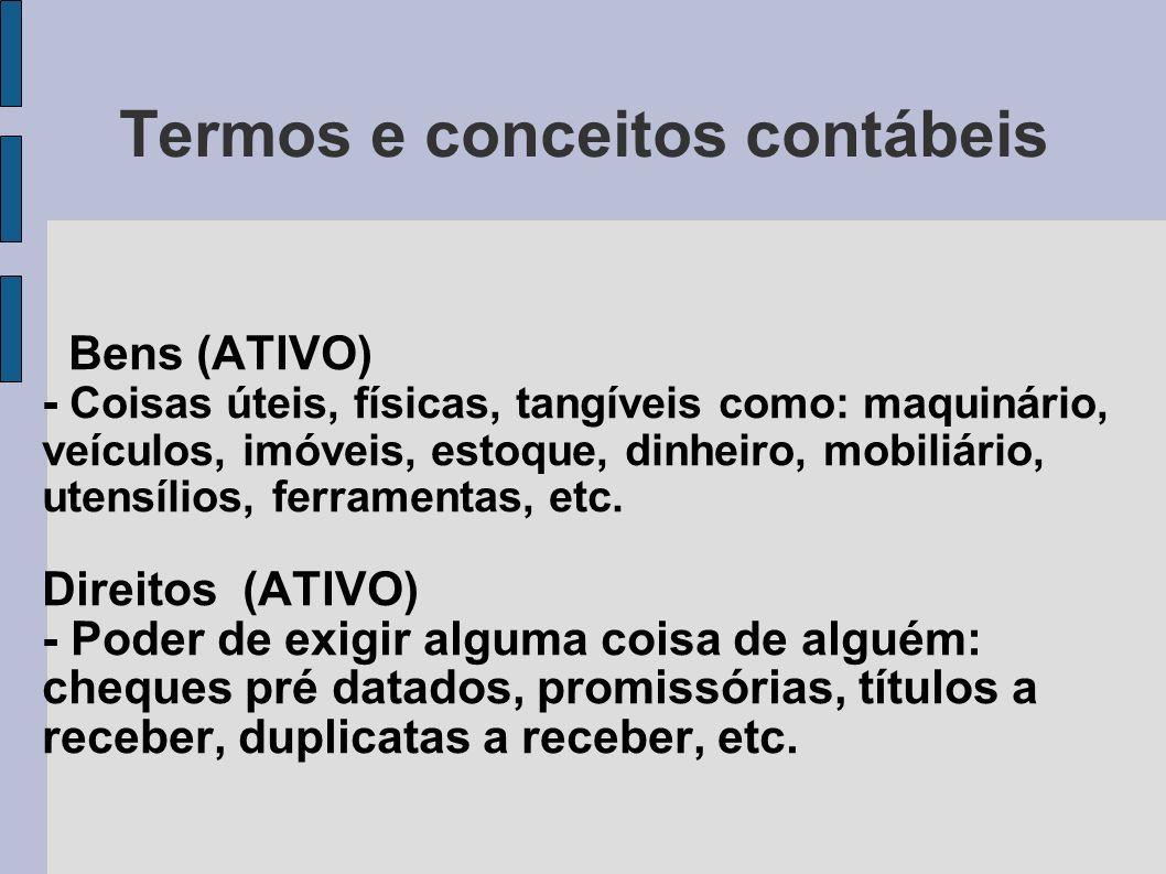 Termos e conceitos contábeis Bens (ATIVO) - Coisas úteis, físicas, tangíveis como: maquinário, veículos, imóveis, estoque, dinheiro, mobiliário, utens