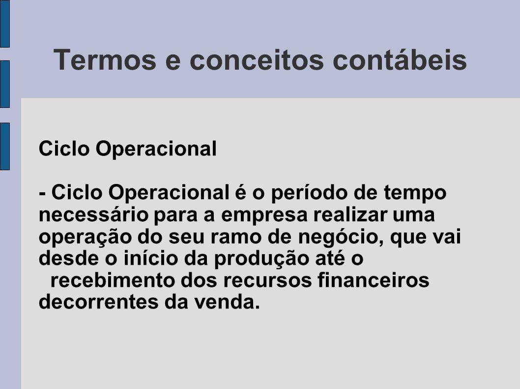 Termos e conceitos contábeis Ciclo Operacional - Ciclo Operacional é o período de tempo necessário para a empresa realizar uma operação do seu ramo de