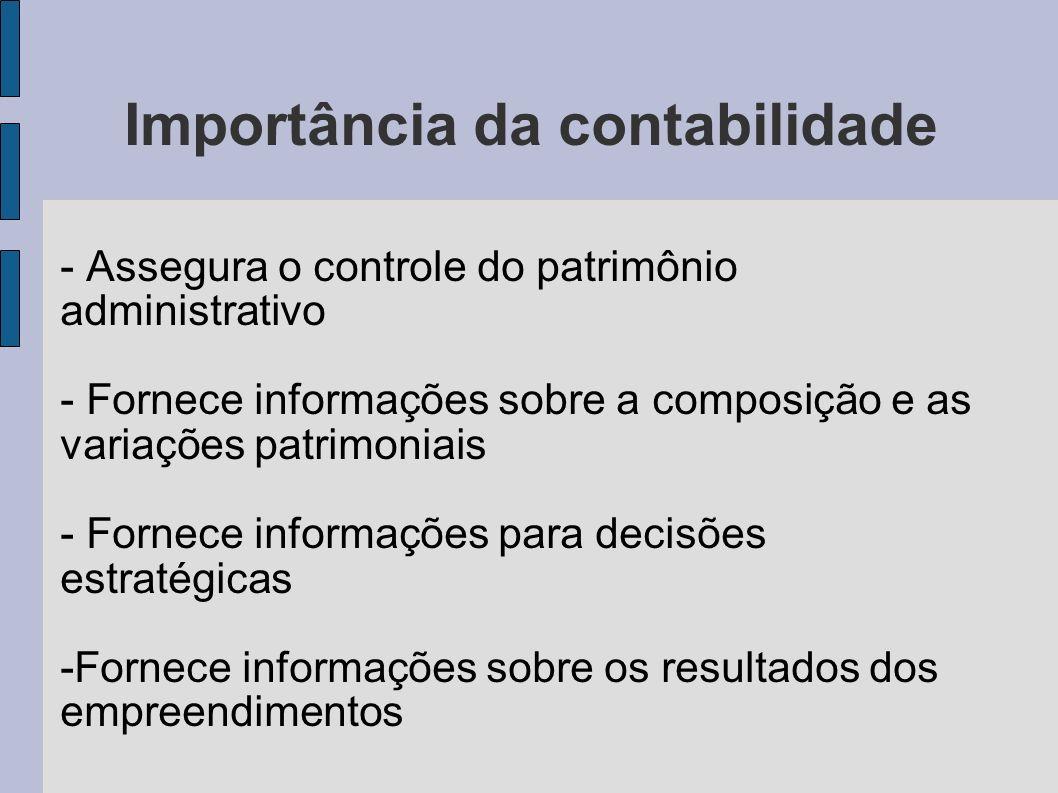 Importância da contabilidade - Assegura o controle do patrimônio administrativo - Fornece informações sobre a composição e as variações patrimoniais -
