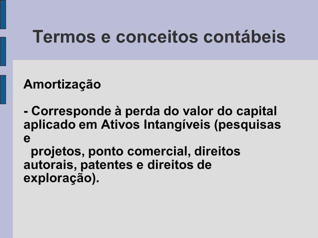 Termos e conceitos contábeis Amortização - Corresponde à perda do valor do capital aplicado em Ativos Intangíveis (pesquisas e projetos, ponto comerci