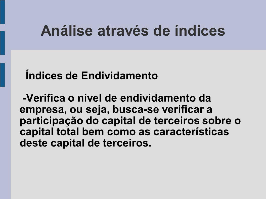 Análise através de índices Índices de Endividamento -Verifica o nível de endividamento da empresa, ou seja, busca-se verificar a participação do capit