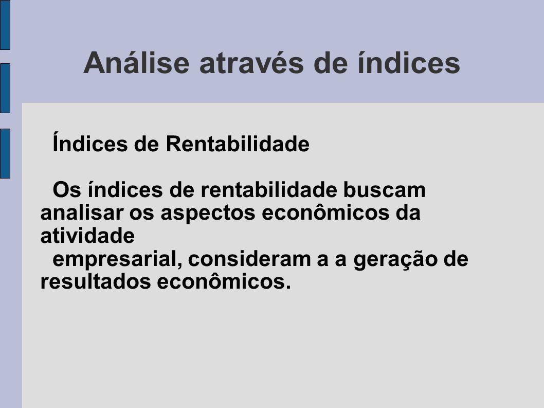 Análise através de índices Índices de Rentabilidade Os índices de rentabilidade buscam analisar os aspectos econômicos da atividade empresarial, consi