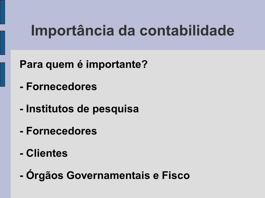 Importância da contabilidade Para quem é importante? - Fornecedores - Institutos de pesquisa - Fornecedores - Clientes - Órgãos Governamentais e Fisco